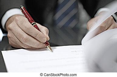 contract., homme affaires, haut fin, signer