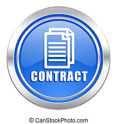 contract icon, blue button