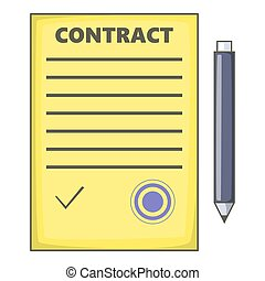 Contract icon, cartoon style
