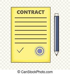 Contract icon, cartoon style