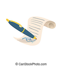 Contract icon, cartoon style - Contract icon in cartoon...