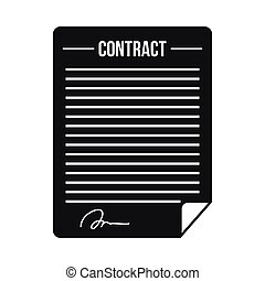 Contract icon in simple style