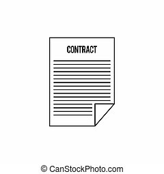 Contract icon, outline style