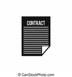 Contract icon, simple style