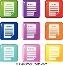 Contract icons 9 set