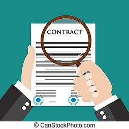 Contract inspection concept - Hand holding magnifying glass over a contract - Flat icon modern design style vector illustration concept.