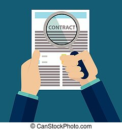 Contract inspection concept - Hand holding magnifying glass over a contract - Flat style