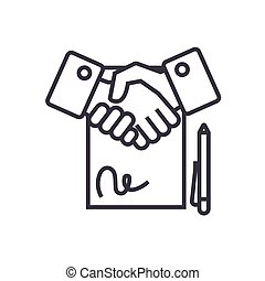 contract linear icon, sign, symbol, vector on isolated background