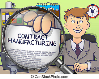 Contract Manufacturing through Magnifying Glass. Doodle...