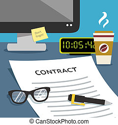 Contract on office desk
