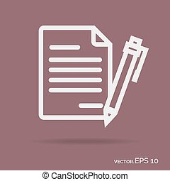 Contract outline icon white color