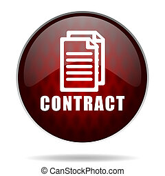 contract red glossy web icon on white background