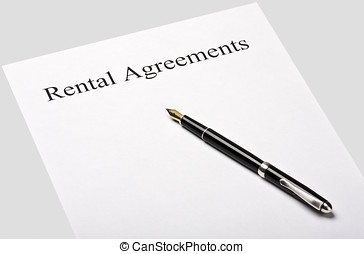 contract rental agreement is isolated on a gray background