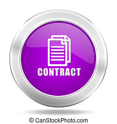 contract round glossy pink silver metallic icon, modern design web element