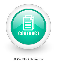 contract round glossy web icon on white background