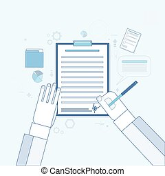 Contract Sign Up Paper Document Business Agreement Pen Signature Office Desk