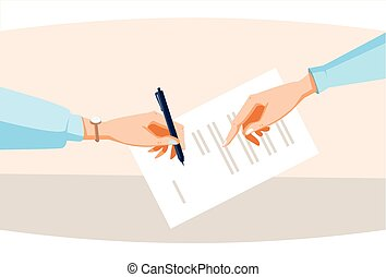 Contract Sign Up Paper Document Business People Agreement Pen Signature