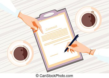 Contract Sign Up Paper Document Business People Agreement Pen Signature Office Desk