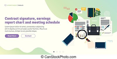 Contract signature, earnings  report chart and meeting schedule