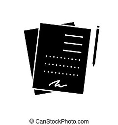 contract signing documents icon, vector illustration, sign on isolated background