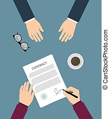Contract signing flat vector illustration