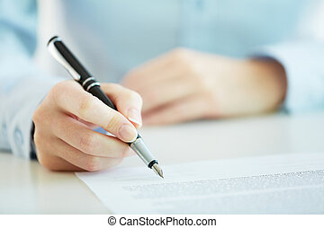 Contract - Business worker signing the contract to conclude...