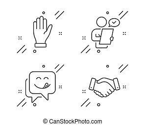 contract., teken., glimlachen, handdruk, onderzoeken; inspecteren;, emoticon, klant, set., werknemers, zwaaiende , hand, iconen, vector, yummy, palm
