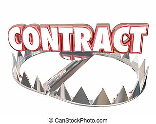 Contract Terms Conditions Bear Trap Danger Word 3d