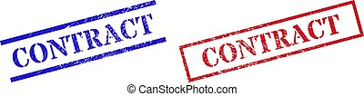 CONTRACT Textured Scratched Stamp Watermarks with Rectangle Frame