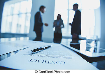 Contract to sign - Close-up of business contract with pen at...
