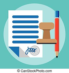 Vector agreement icon - contract, pencil and stamp