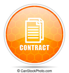 Contract web icon. Round orange glossy internet button for webdesign.