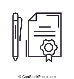 contract with pen linear icon, sign, symbol, vector on isolated background