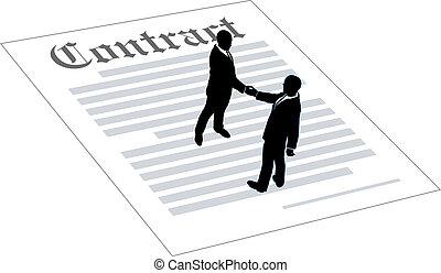 contracteren, zakenlui, meldingsbord, overeenkomst