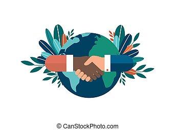 contracting., world., mãos, ilustração, sucedido, nacionalidades, diferente, sobre, experiência., tudo, sociedade, branca, amizade, isolado, cooperação, vetorial