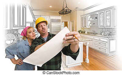 Contractor Discussing Plans with Woman, Kitchen Drawing Photo Behind