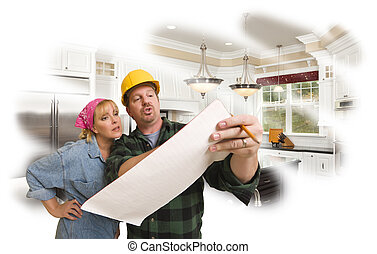 Contractor Discussing Plans with Woman, Kitchen Photo Behind...