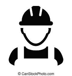 Contractor icon vector male worker person profile avatar with hardhat helmet in glyph pictogram illustration