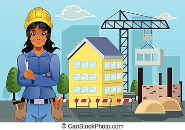 Contractor in Front of a House