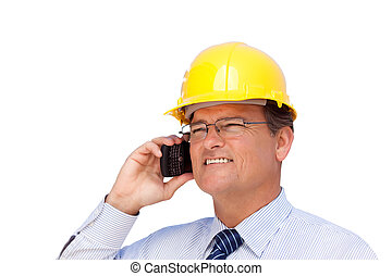 Contractor in Hardhat on His Cell Phone Isoalted