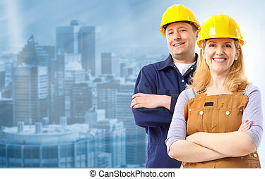 Contractor people in yellow uniform. Over blue background