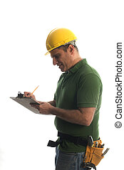 contractor repairman with tool belt and hammer - contractor...
