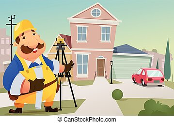 Contractor Standing in Front of a House