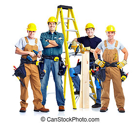Contractor. - Young handsome contractor in yellow uniform....