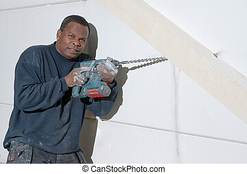 Contractor with a drill