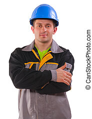 contractor with crossed arms isolated