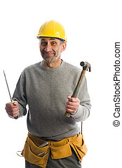 contractor with tools - builder contractor tools ready to...