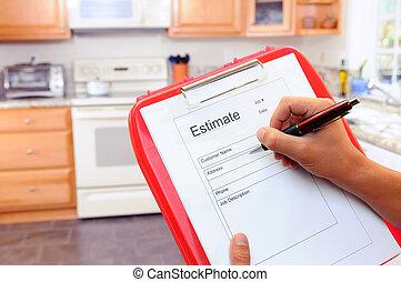 Contractor Writing Estimate - Closeup of a contractors...