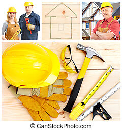 Contractors and tolls, gloves, hammer, saw and drill