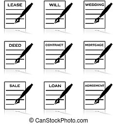 Contracts - Icon set showing different types of documents ...